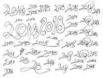 Σύνολο συρμένου doodle EP γραμμών σκίτσων απεικόνισης δέντρων του χέρι Στοκ Φωτογραφίες