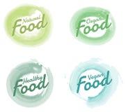 Σύνολο συρμένων διακριτικών και στοιχείων watercolor οργανικής τροφής χέρι Διανυσματικές απεικονίσεις για το organicFood και το π Στοκ Εικόνες