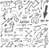 Σύνολο συρμένων χέρι βελών doodle απεικόνιση αποθεμάτων
