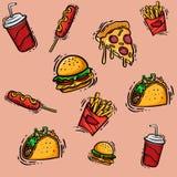 Σύνολο συρμένων χέρι επιλογών γρήγορου φαγητού για το διανυσματικό σχέδιο σκίτσων διαφήμισης ή συσκευασίας στοκ εικόνα