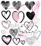 Σύνολο συρμένων χέρι καρδιών, διάνυσμα στοκ εικόνα
