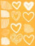 Σύνολο συρμένων χέρι καρδιών, διάνυσμα στοκ εικόνα με δικαίωμα ελεύθερης χρήσης