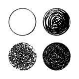 Σύνολο συρμένων χέρι κύκλων κακογραφίας διανυσματικά στοιχεία σχεδίου λογότυπων Ο Μαύρος στην άσπρη ανασκόπηση απεικόνιση αποθεμάτων