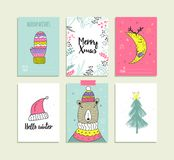 Σύνολο συρμένων χέρι προτύπων καρτών Χριστουγέννων Στοκ Φωτογραφίες
