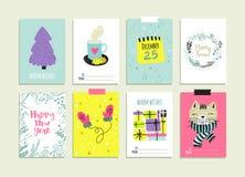 Σύνολο συρμένων χέρι προτύπων καρτών Χριστουγέννων Στοκ φωτογραφίες με δικαίωμα ελεύθερης χρήσης