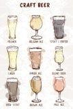 Σύνολο συρμένων χέρι τύπων γυαλιών μπύρας απεικόνιση αποθεμάτων