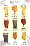 Σύνολο συρμένων χέρι τύπων γυαλιών μπύρας ελεύθερη απεικόνιση δικαιώματος