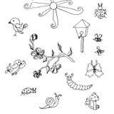 Σύνολο συρμένων χέρι χαριτωμένων μονοχρωματικών στοιχείων doodle Στοκ φωτογραφία με δικαίωμα ελεύθερης χρήσης