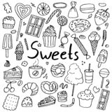 Σύνολο συρμένων χέρι doodle γλυκών στοκ εικόνα με δικαίωμα ελεύθερης χρήσης
