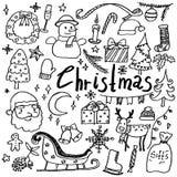 Σύνολο συρμένων χέρι doodle εικονιδίων Χριστουγέννων στοκ εικόνα
