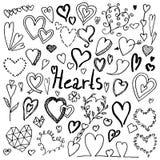 Σύνολο συρμένων χέρι doodle καρδιών στοκ εικόνες