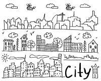 Σύνολο συρμένων χέρι doodle πόλεων στοκ εικόνες