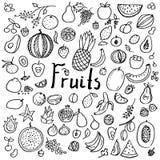 Σύνολο συρμένων χέρι doodle φρούτων στοκ εικόνες με δικαίωμα ελεύθερης χρήσης