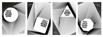 Σύνολο σχεδίου 4 ελάχιστου γεωμετρικού γραφικού καλύψεων Απλή αφίσα Στοκ Φωτογραφίες