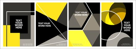Σύνολο σχεδίου 4 ελάχιστου γεωμετρικού γραφικού καλύψεων Απλή αφίσα Στοκ φωτογραφία με δικαίωμα ελεύθερης χρήσης