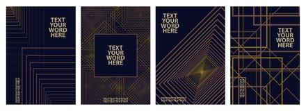 Σύνολο σχεδίου 4 ελάχιστου γεωμετρικού γραφικού καλύψεων Απλή αφίσα Στοκ Εικόνα