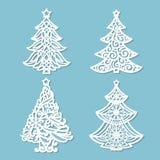 Σύνολο σχεδίων για την κοπή λέιζερ Χριστούγεννα η διανυσματική έκδοση δέντρων χαρτοφυλακίων μου ελεύθερη απεικόνιση δικαιώματος