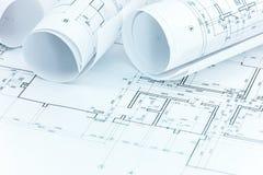 Σύνολο σχεδίων κατασκευής και ρόλων σχεδιαγραμμάτων στον αρχιτέκτονα workp Στοκ Εικόνα