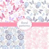 Σύνολο σχεδίων των λουλουδιών και των πεταλούδων στο ροζ κρητιδογραφιών και το BL Στοκ Εικόνες
