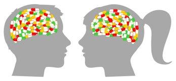 Σύνολο σχεδιαγραμμάτων κεφαλιών του διανύσματος χαπιών Στοκ Εικόνες