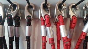 Σύνολο σχοινιών Redcord με τα carabiners Στοκ Φωτογραφία