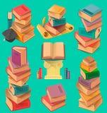Σύνολο σωρών βιβλίων στο επίπεδο διάνυσμα σχεδίου Διανυσματική απεικόνιση