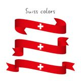 Σύνολο σύγχρονης χρωματισμένης διανυσματικής κορδέλλας τρία με τα ελβετικά χρώματα Στοκ εικόνες με δικαίωμα ελεύθερης χρήσης