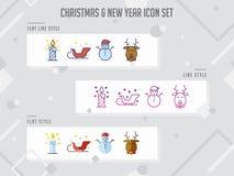 Σύνολο σύγχρονου ζωηρόχρωμου διανυσματικού, νέου έτους εικονιδίων Χριστουγέννων και celeb απεικόνιση αποθεμάτων