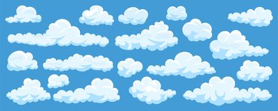Σύνολο σύννεφων κινούμενων σχεδίων Στοκ εικόνα με δικαίωμα ελεύθερης χρήσης