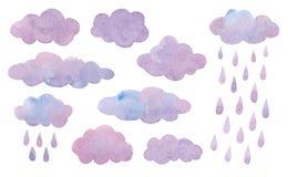 Σύνολο σύννεφων watercolor με τη βροχή που απομονώνεται στο άσπρο υπόβαθρο Στοκ Φωτογραφίες