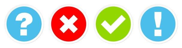 Σύνολο τέσσερα Checkmarks ερώτησης κουμπιών και μπλε κόκκινου πράσινου απάντησης διανυσματική απεικόνιση