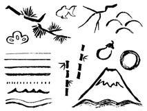 Σύνολο τέχνης βουρτσών διανυσματική απεικόνιση