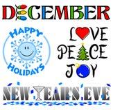 Σύνολο τέχνης συνδετήρων γεγονότων Δεκεμβρίου απεικόνιση αποθεμάτων