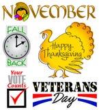 Σύνολο τέχνης συνδετήρων γεγονότων Νοεμβρίου διανυσματική απεικόνιση