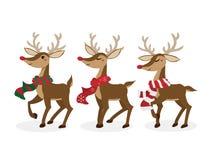 Σύνολο ταράνδου για την περίοδο διακοπών Χριστουγέννων ελεύθερη απεικόνιση δικαιώματος