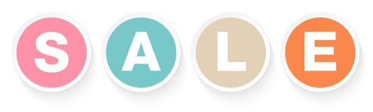 Σύνολο τεσσάρων αναδρομικών χρωμάτων πώλησης κουμπιών με τη σκιά ελεύθερη απεικόνιση δικαιώματος