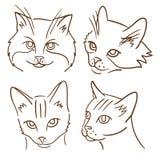 Σύνολο τεσσάρων απεικονίσεων με τις γάτες Στοκ Εικόνα