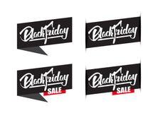 Σύνολο τεσσάρων ετικετών πώλησης με τη χειρόγραφη σύγχρονη εγγραφή βουρτσών της μαύρης Παρασκευής που απομονώνεται στο άσπρο υπόβ απεικόνιση αποθεμάτων
