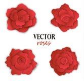Σύνολο τεσσάρων κόκκινων τριαντάφυλλων εγγράφου Στοκ φωτογραφίες με δικαίωμα ελεύθερης χρήσης