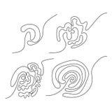 Σύνολο τεσσάρων μαύρων περίπλοκων doodle λαβυρίνθων διανυσματική απεικόνιση