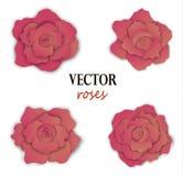 Σύνολο τεσσάρων ρόδινων τριαντάφυλλων εγγράφου Στοκ φωτογραφία με δικαίωμα ελεύθερης χρήσης