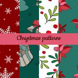 Σύνολο τεσσάρων σχεδίων Χριστουγέννων Άνευ ραφής πρότυπο Καλών Χριστουγέννων Handdraw διάνυσμα απεικόνιση αποθεμάτων