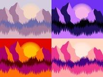 Σύνολο τεσσάρων τοπίων βουνών Στοκ εικόνες με δικαίωμα ελεύθερης χρήσης