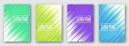 Σύνολο τεσσάρων φυλλάδιων, αφίσες, ιπτάμενα Πράσινα κίτρινα πορφυρά μπλε λωρίδες διαγώνια σχεδιάστε το σας διανυσματική απεικόνιση