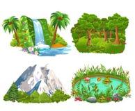 Σύνολο τεσσάρων φυσικών εικονιδίων όπως το νησί, το δάσος, τα βουνά και τη λίμνη ελεύθερη απεικόνιση δικαιώματος