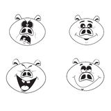 Σύνολο τεσσάρων χαριτωμένων χαρακτήρων χοίρων κινούμενων σχεδίων συναισθηματικών ρόδινων ελεύθερη απεικόνιση δικαιώματος