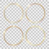 Σύνολο τεσσάρων χρυσών λαμπρών στρογγυλών πλαισίων διανυσματική απεικόνιση