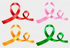Σύνολο τεσσάρων χρωματισμένων κορδελλών ελεύθερη απεικόνιση δικαιώματος