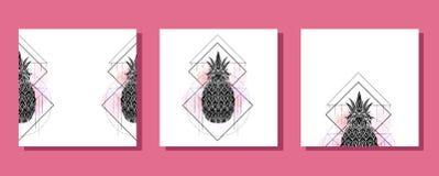 Σύνολο τετραγωνικών καρτών με τη μυστική απεικόνιση ενός ανανά με ένα σχέδιο περιγράμματος, ρόδινοι παφλασμοί watercolor Αφίσα με διανυσματική απεικόνιση