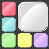 Σύνολο τετραγωνικών κουμπιών για το σχέδιο των εφαρμογών ή των ιστοχώρων απεικόνιση αποθεμάτων